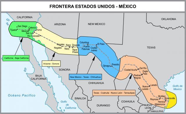 Mapa De La Frontera Entre Mexico Y Estados Unidos L Espagnol Au Lycee Jean Michel Mme Pepin Et Mme A Frontera Mexico Estados Unidos Fronteras Estados Unidos