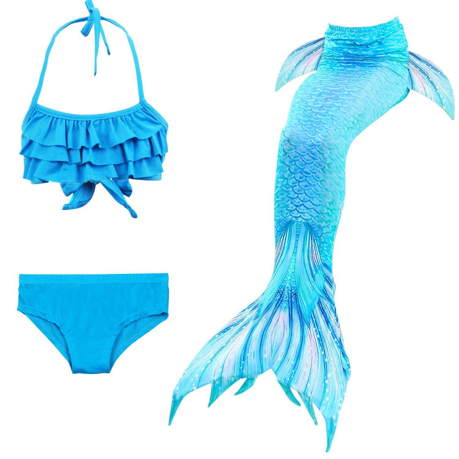 Girl/'s Mermaid Tails Swimmable Swimwear Sets with Monofin 3pcs Princess Swimsuit