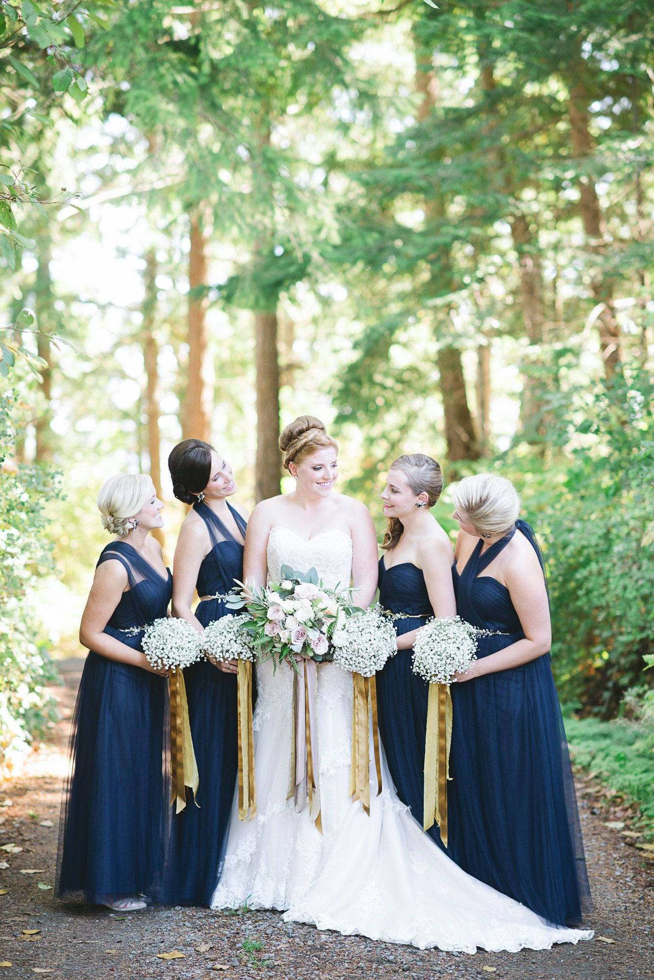 Chic Blue And Gold Outdoor Wedding Gold Bridesmaid Dresses