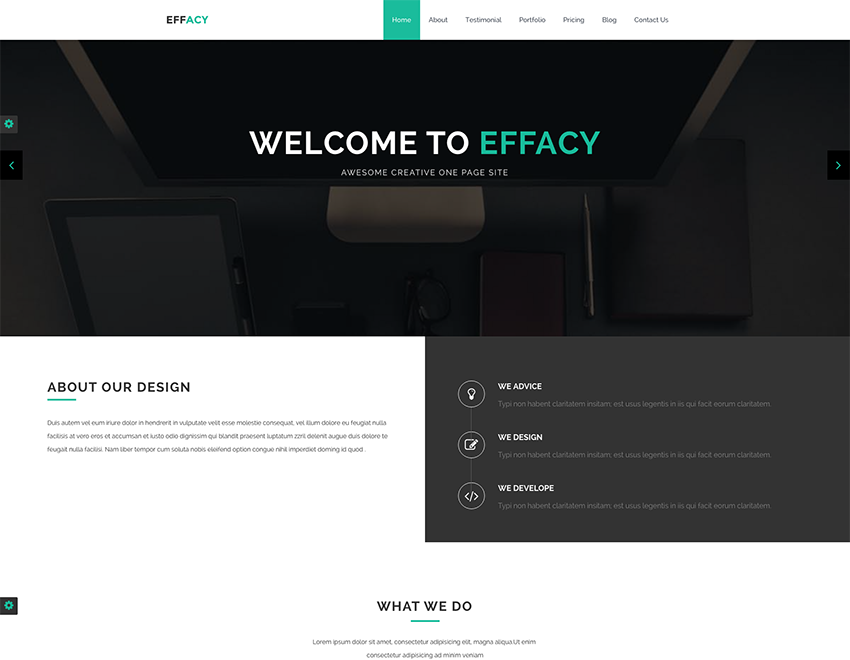 Effacy Free Bootstrap One Page Portfolio Template Readytheme Portfolio Templates Free Portfolio Template Templates