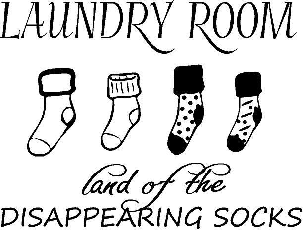 301a0a3753 Laundry Room land of the Disappearing Socks Vinyl Decal | laundry