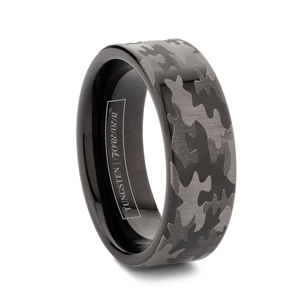 6mm Or 8mm Flat Tungsten Black Camo Wedding Bands Http Www