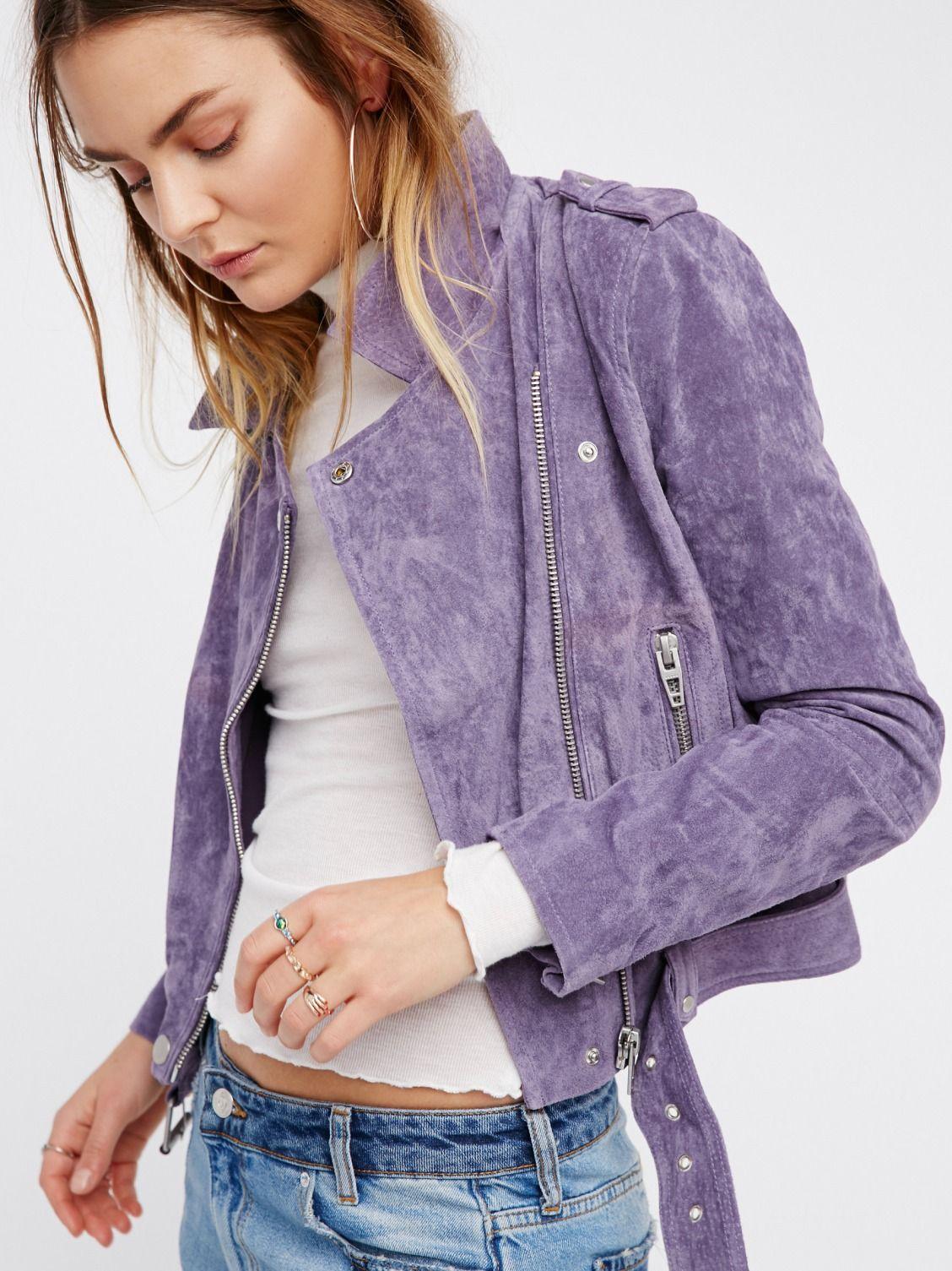 Suede Moto Jacket Fashion Lavender Outfit Purple Outfits [ 1505 x 1128 Pixel ]