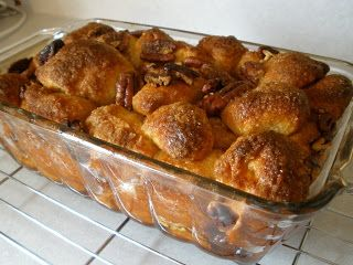 Monkey Bread made with frozen dinner roll dough.