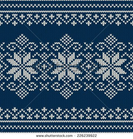 Knitting Stitches Vector : Winter Holiday sweater design on the wool knitted texture. Seamless pattern -...