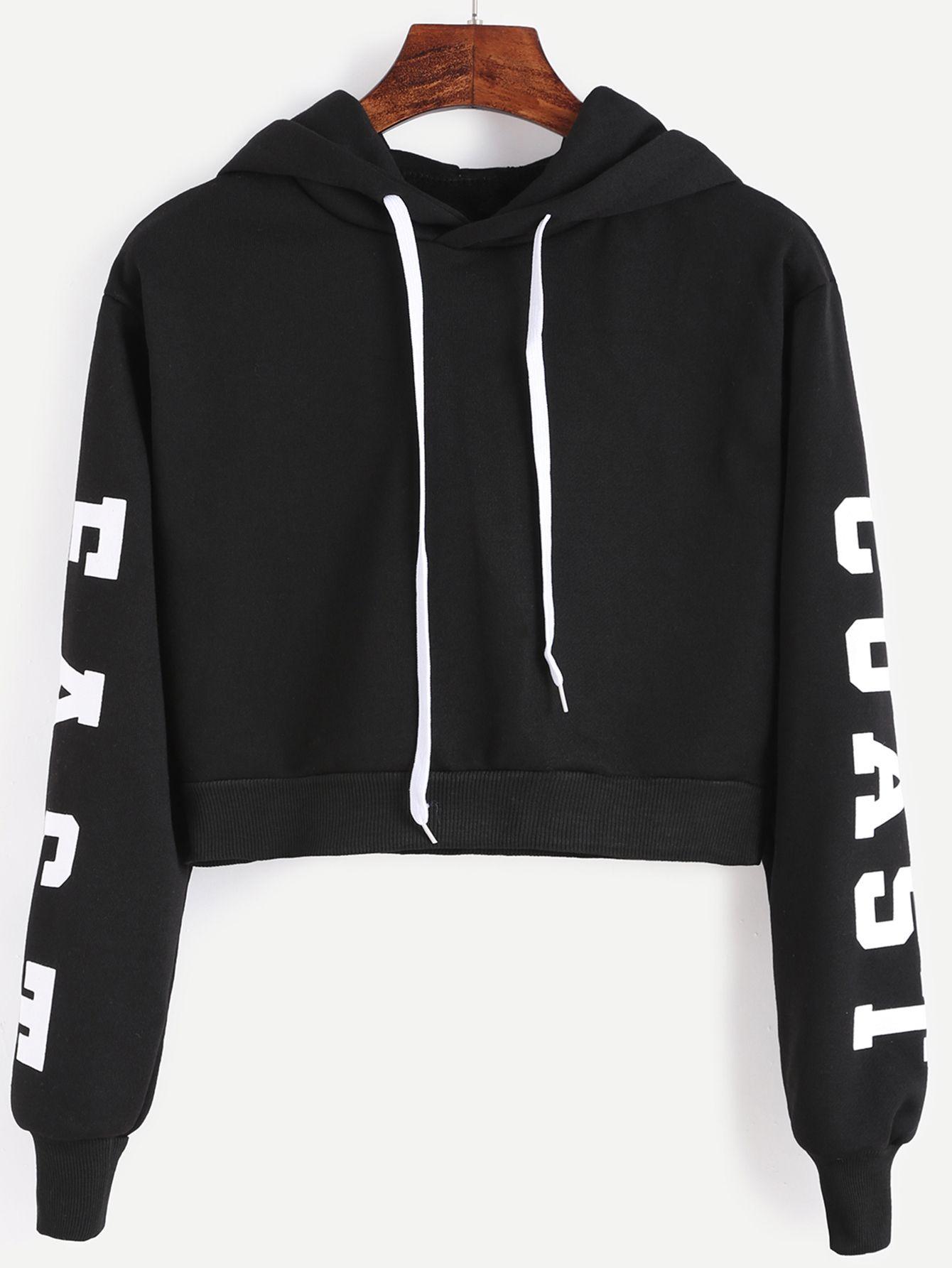 Letters Print Crop Hoodie | Sweatshirts online, Sweatshirt and ...