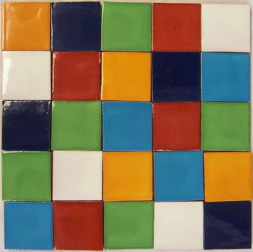 100 Handmade Mexican Tiles Talavera 2x2 Mexico solid Color