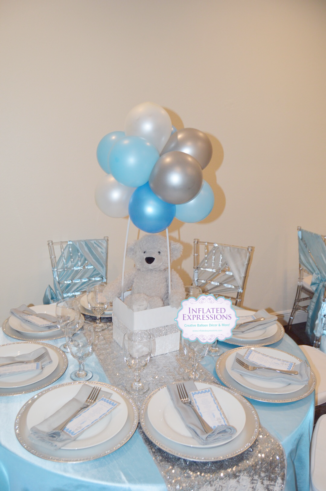 Teddy Bear Topiary Ball Balloon Centerpiece Baby Shower