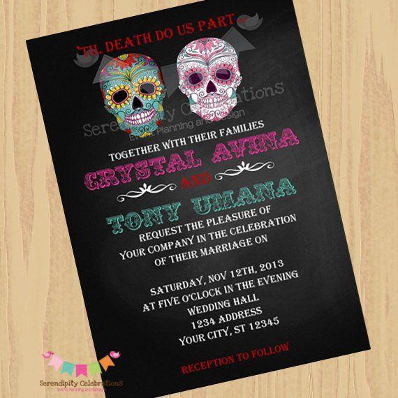 Diy Digital Sugar Skull Invitation Dia De Los Muertos Wedding