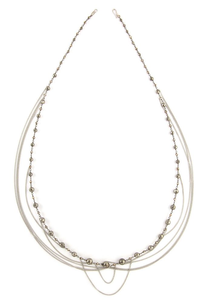 Chan Luu - Pyrite and Chain Statement Necklace, $245.00 (http://www.chanluu.com/necklaces/pyrite-and-chain-statement-necklace/)