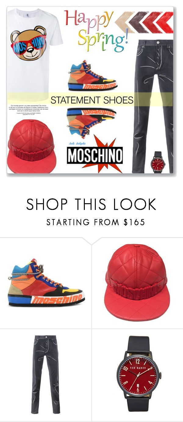 """Double Take - Statement Shoes: 21/03/17"" by solyda-sok ❤ liked on Polyvore featuring Moschino, Ted Baker, men's fashion and menswear"