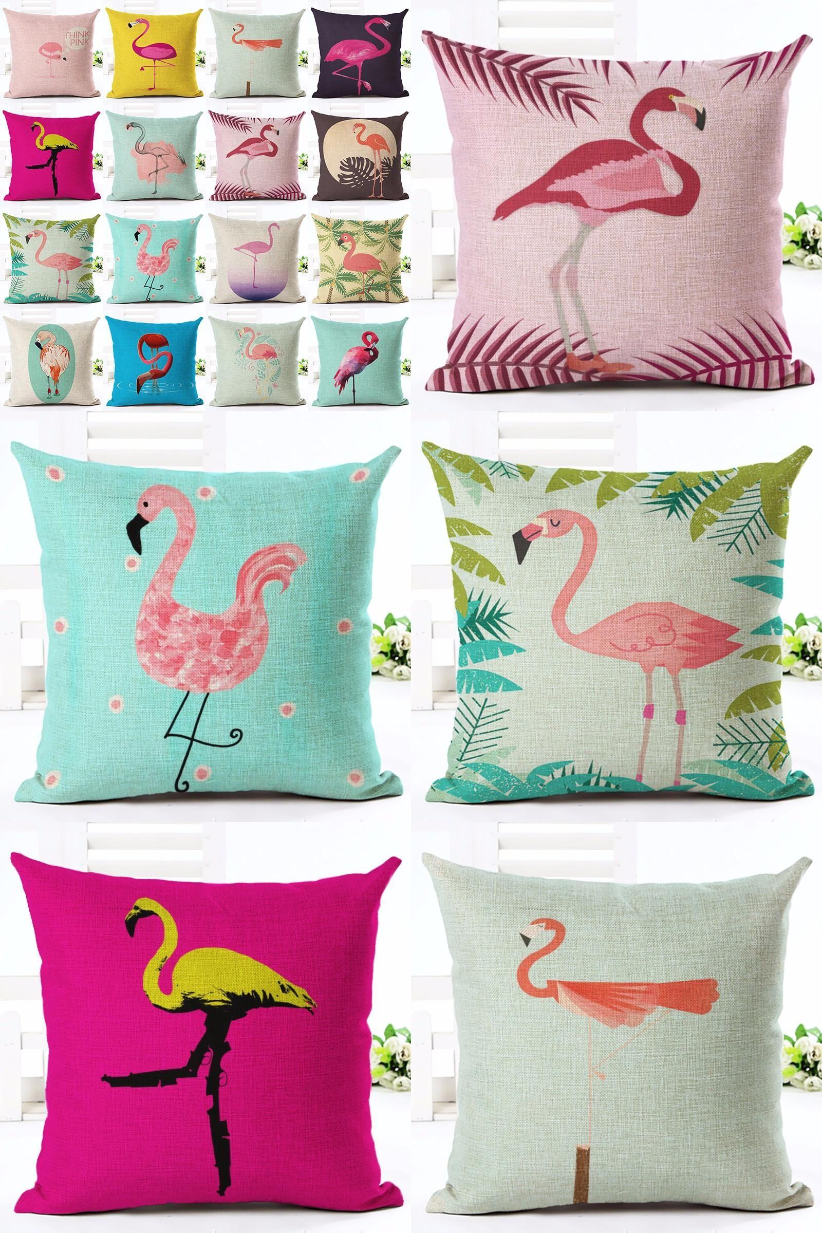 Visit to buy lovely pink flamingo printed throw pillow houseware