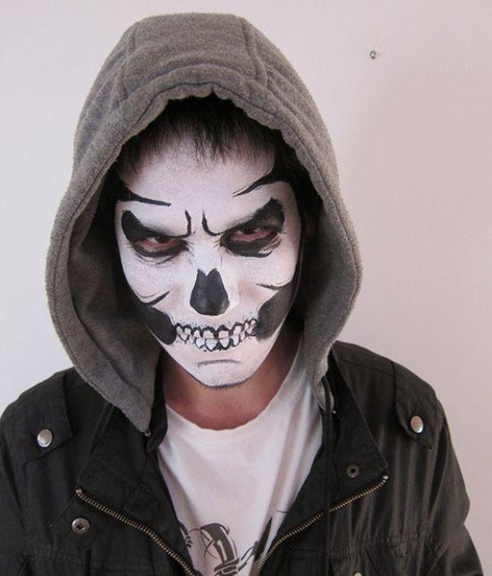 black white halloween makeup men maquillaje calavera hombre