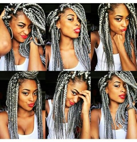 Grey Braids Afro Caribbean Hair Box Braids Styling Natural Gray Hair