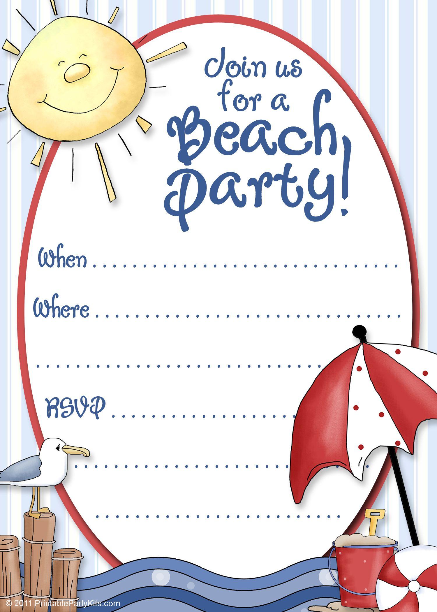 beach party invite template printable