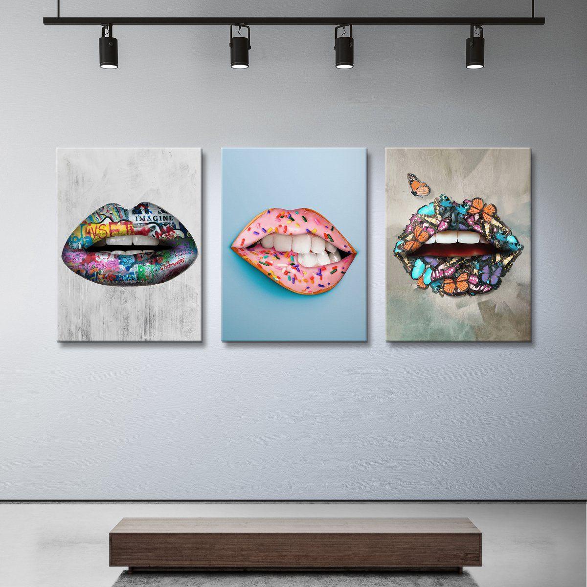 Color Lips Bundle Colorful Canvas Wall Art Decor Ikonick Art Bundle Canvas Art Wall Decor Lip Colors