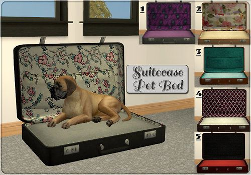 Suitecase & Old TV Pet Beds I saw these two ideas of upcycled pet beds and thought they were quite creative so I decided to try and create them for my sims' pets. The cushion for both beds is slaved...