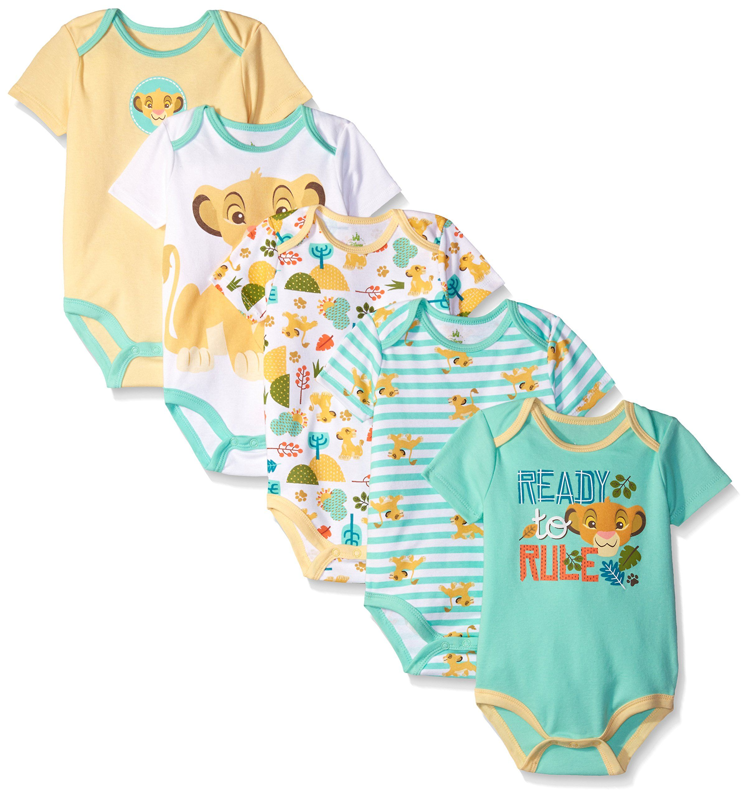 Disney Baby Boys Simba 5 Pack Bodysuits Multi Yellow 3 6 Months