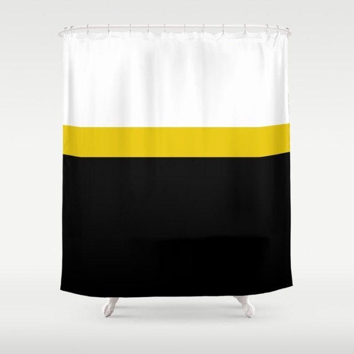 Striped Shower Curtain Black White Bathroom Mustard Yellow