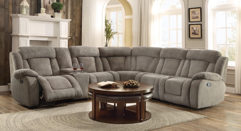 Calumet Ridge Taupe Fabric Corner Reclining Sectional Sofa Set Console