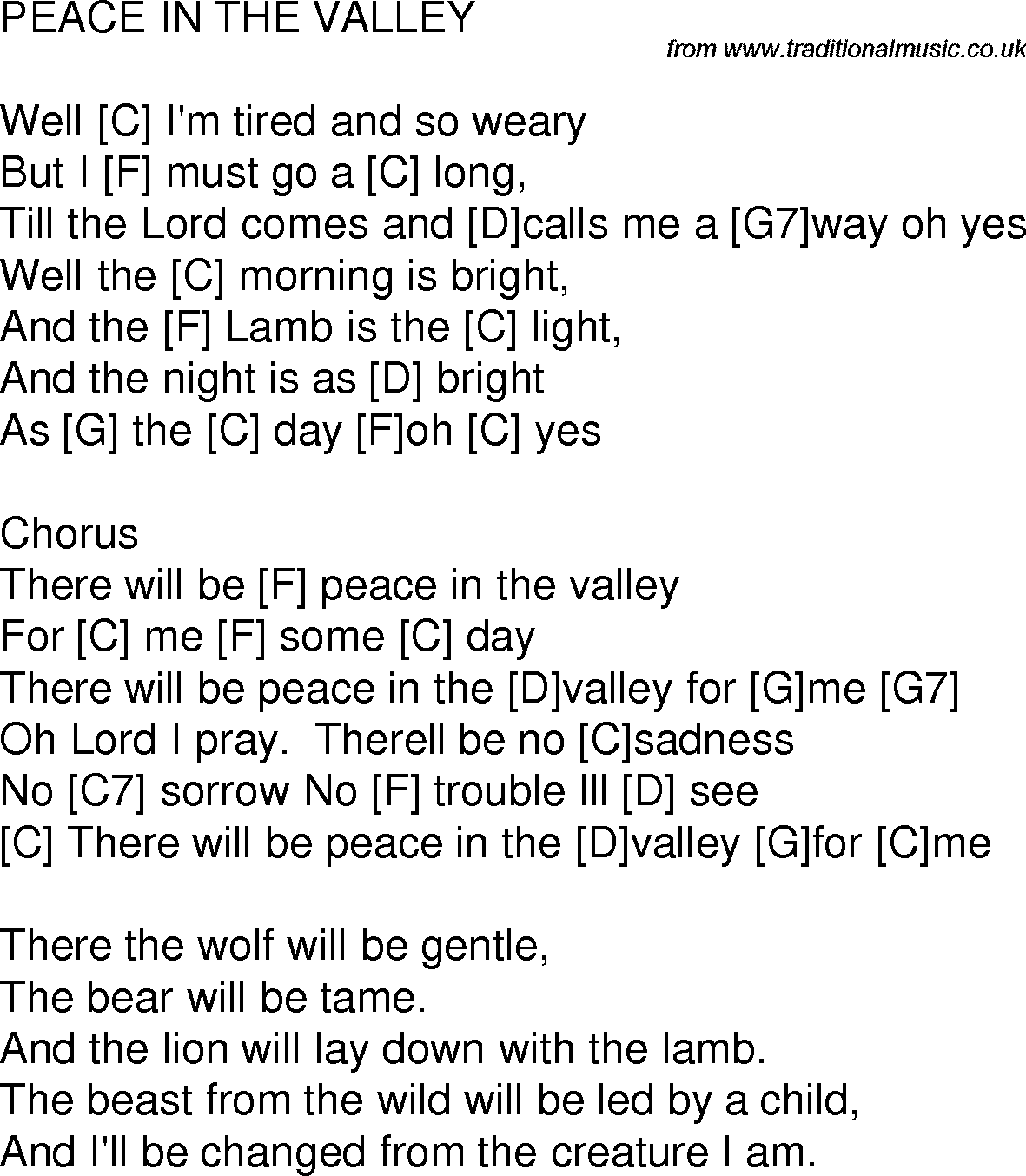 Old Time Song Lyrics With Chords For Peace In The Valley C Guitar