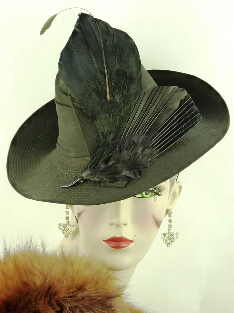 VINTAGE HAT 1940s FRENCH WWII BLACK CHIFFON STITCH STRIPED FEDORA ... 3f32d4e482ba