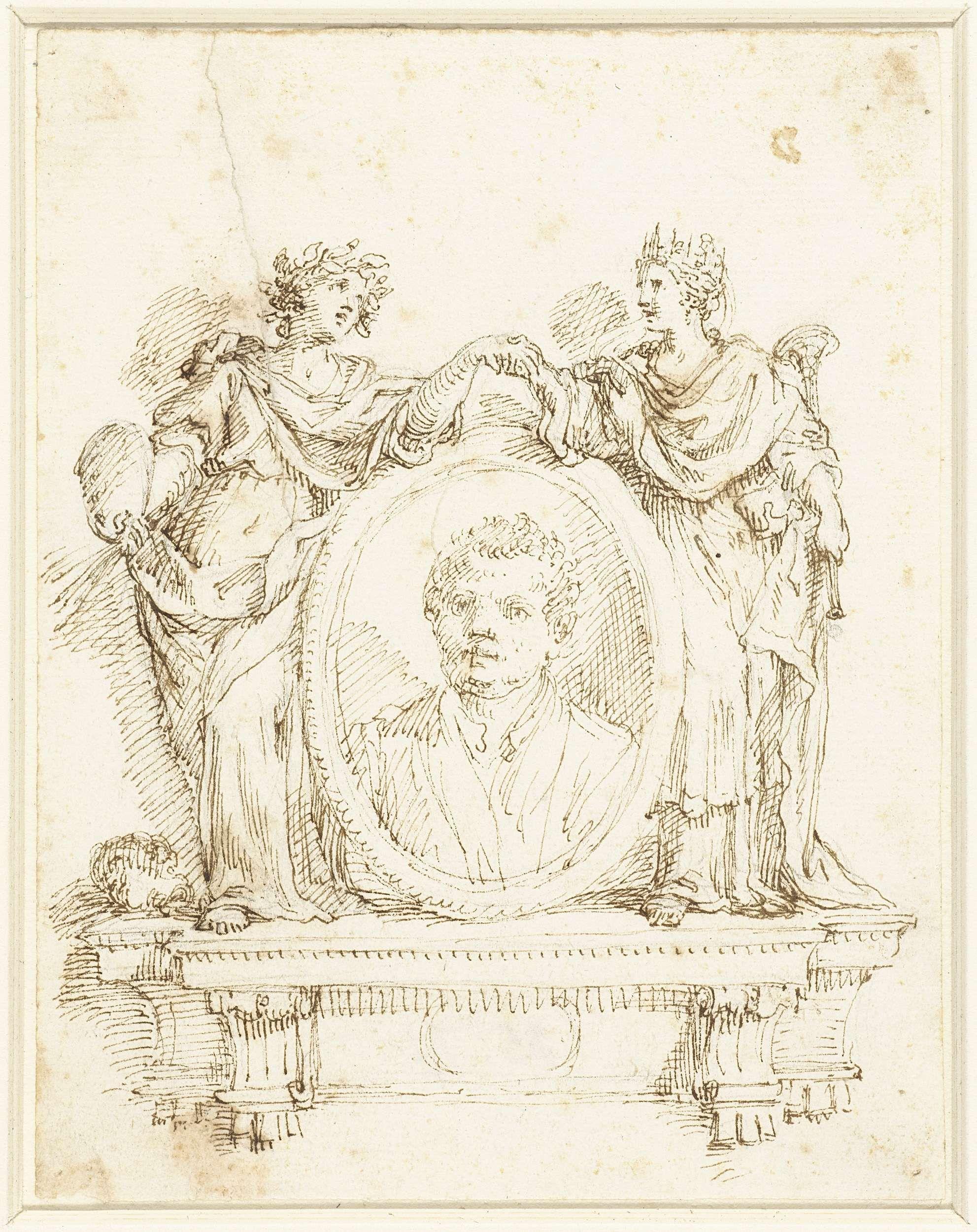 anoniem | Schildersportret met aan weerszijden Schilderkunst en Fama, possibly Francesco Salvatore Fontebasso, 1719 - 1769 |