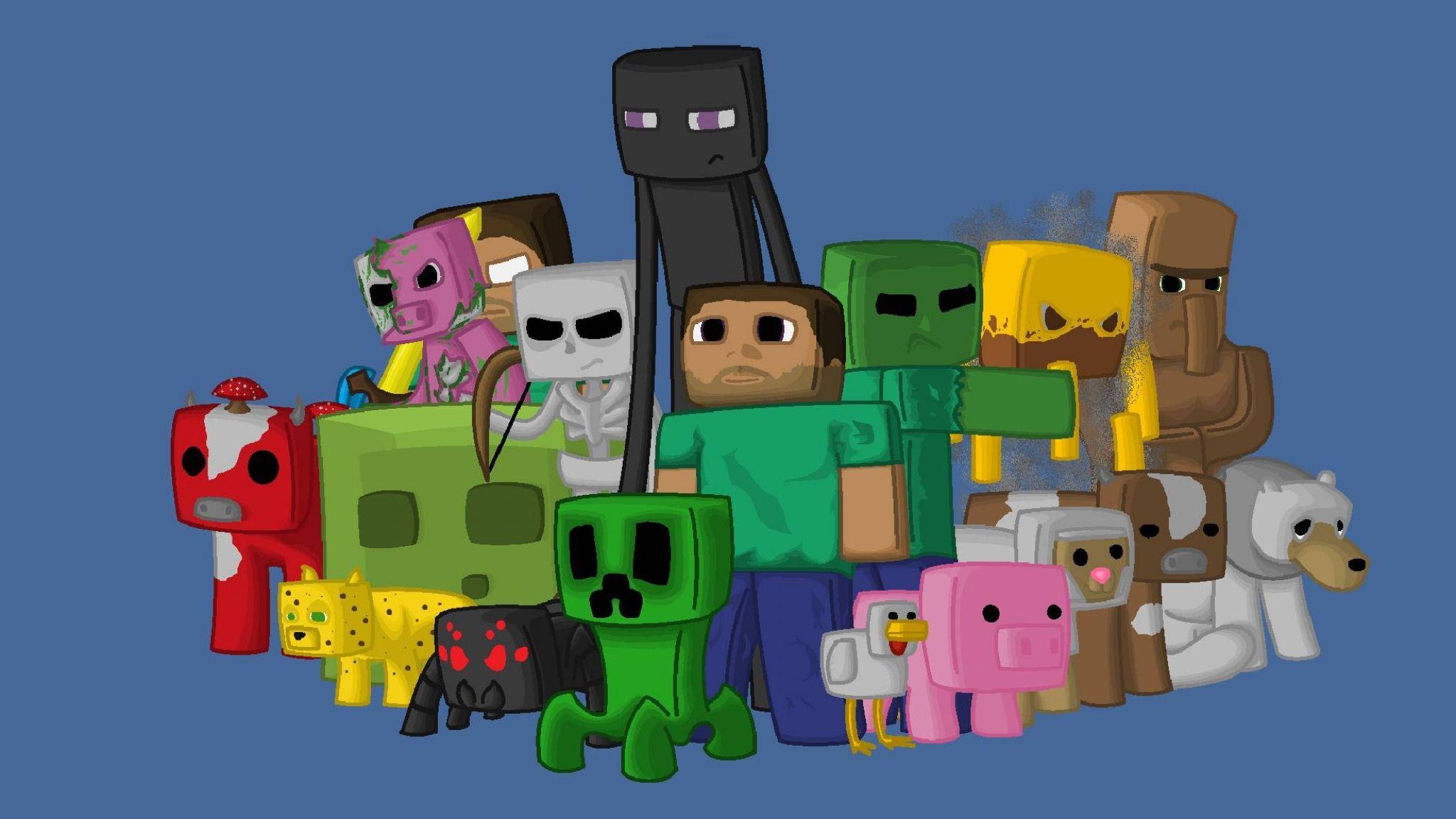 2048x1152 Wallpaper Minecraft Characters Game Pixels Java Josue