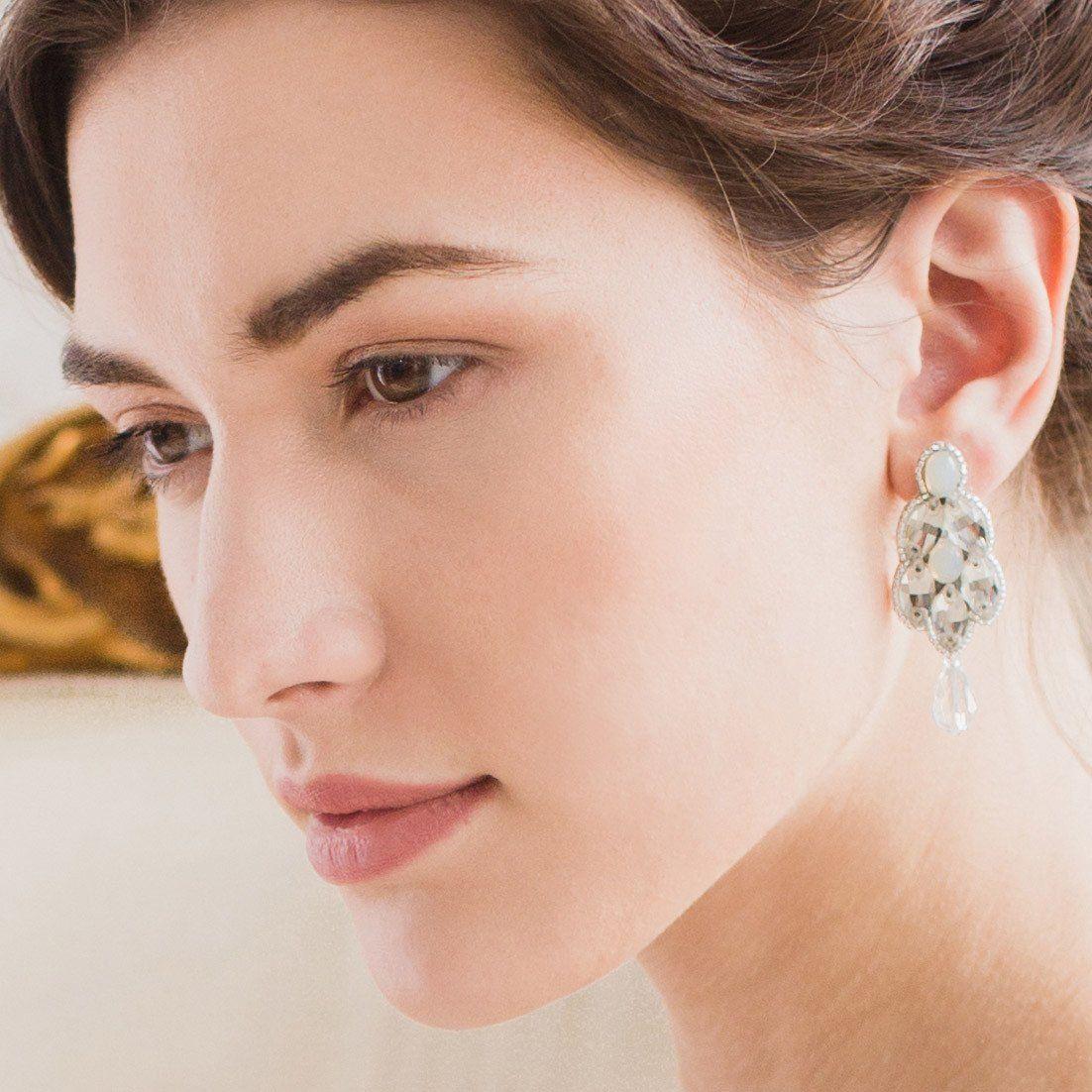 Opal wedding earrings silver crystal - 'Mya'