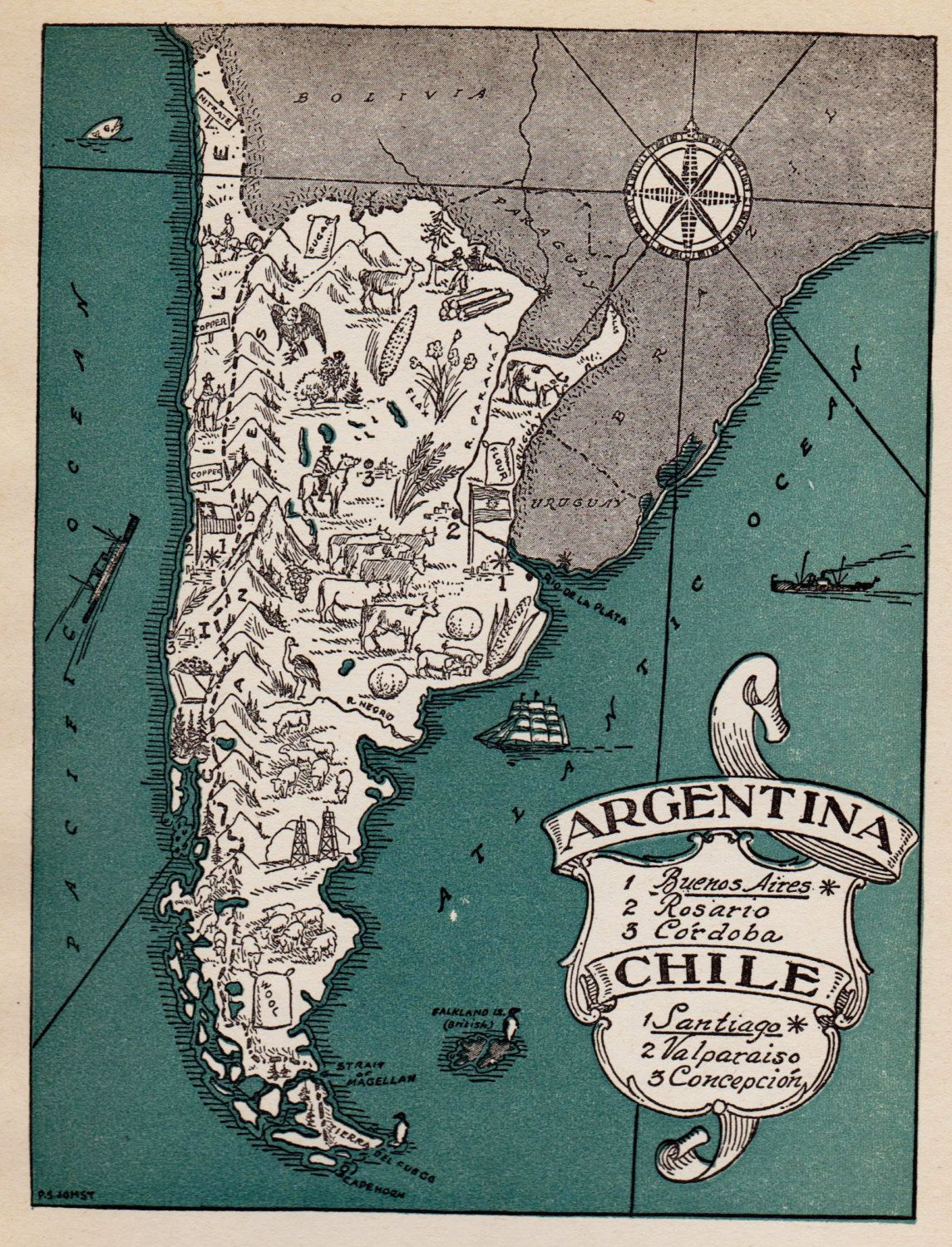 Chile Location On World Map%0A Charming ARGENTINA Map and Chile Map Gallery Wall Art WHIMSICAL Vintage   s  Picture Map Plaindealing