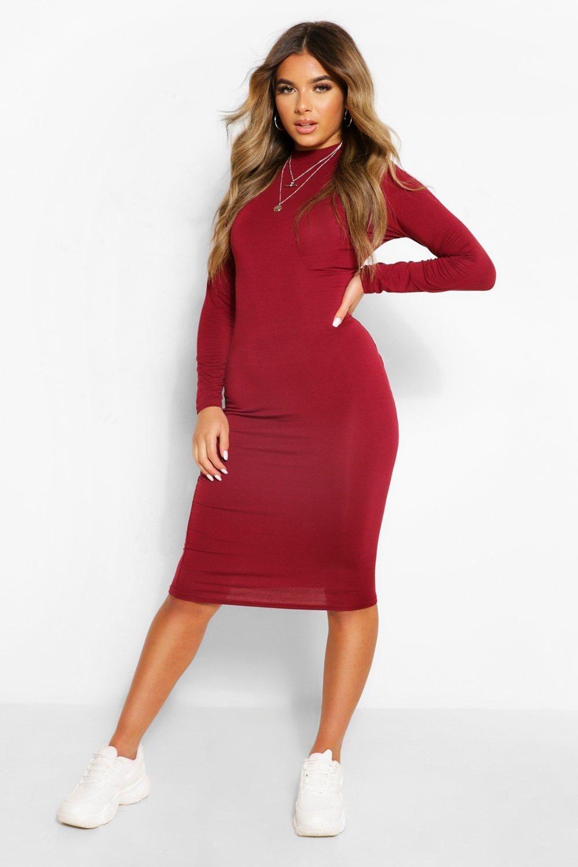 Petite Turtleneck Long Sleeve Midi Dress Boohoo In 2021 Long Sleeve Wrap Dress Long Sleeve Midi Dress Red Midi Dress [ 1500 x 1000 Pixel ]
