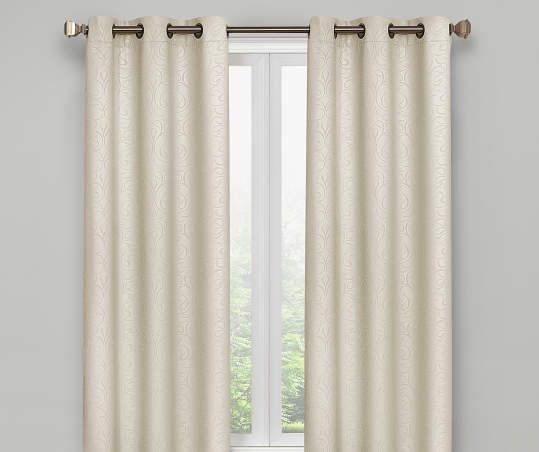 Ivory Scroll Blackout Curtain Panel Pair 63 Panel Curtains