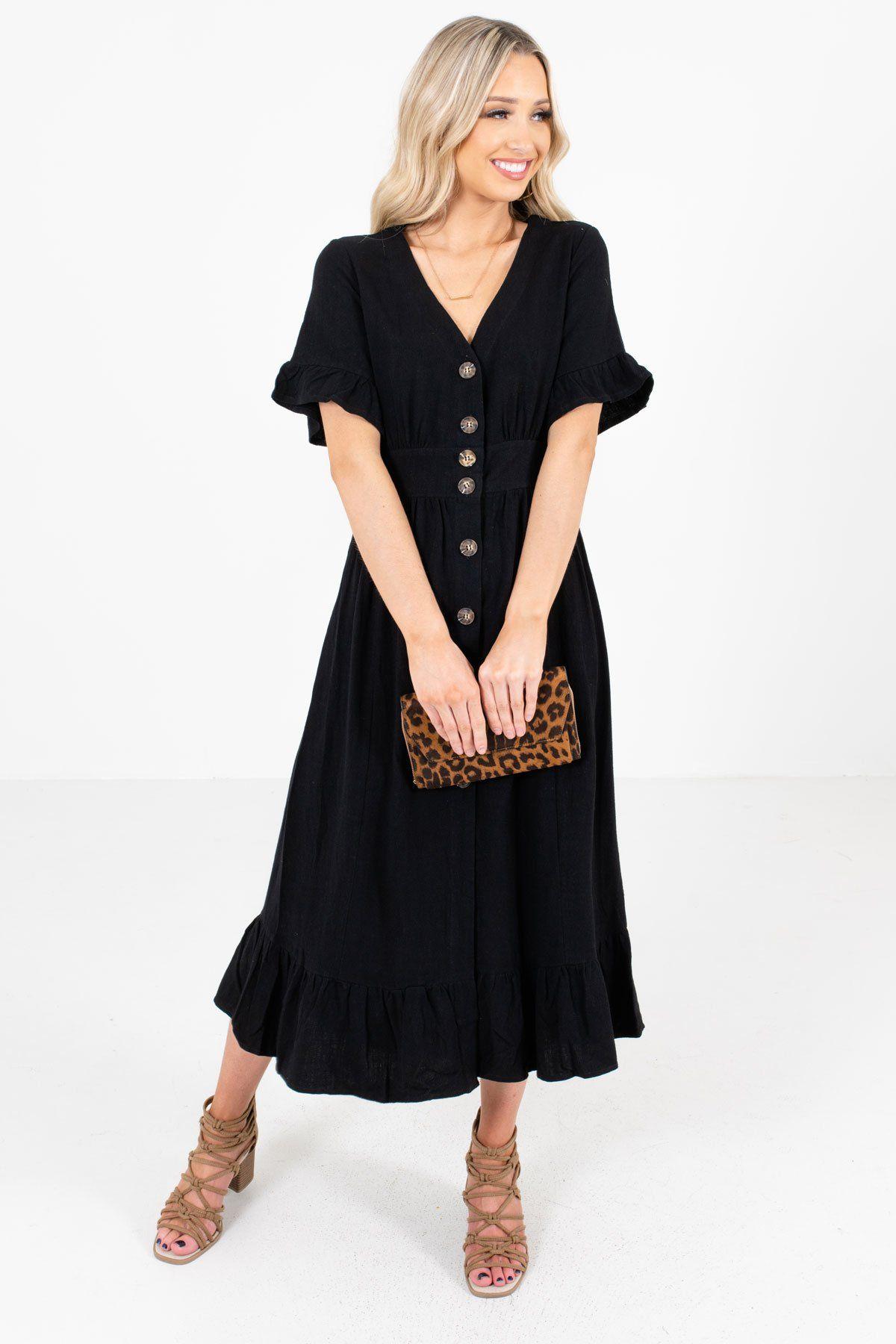 Headed Downtown Black Midi Dress In 2020 Black Midi Dress Midi Length Dress Dresses [ 1800 x 1200 Pixel ]