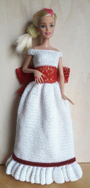 Barbie Kleid (gehäkelt), weiß/rot | Barbie Kleid, Puppenkleidung und ...