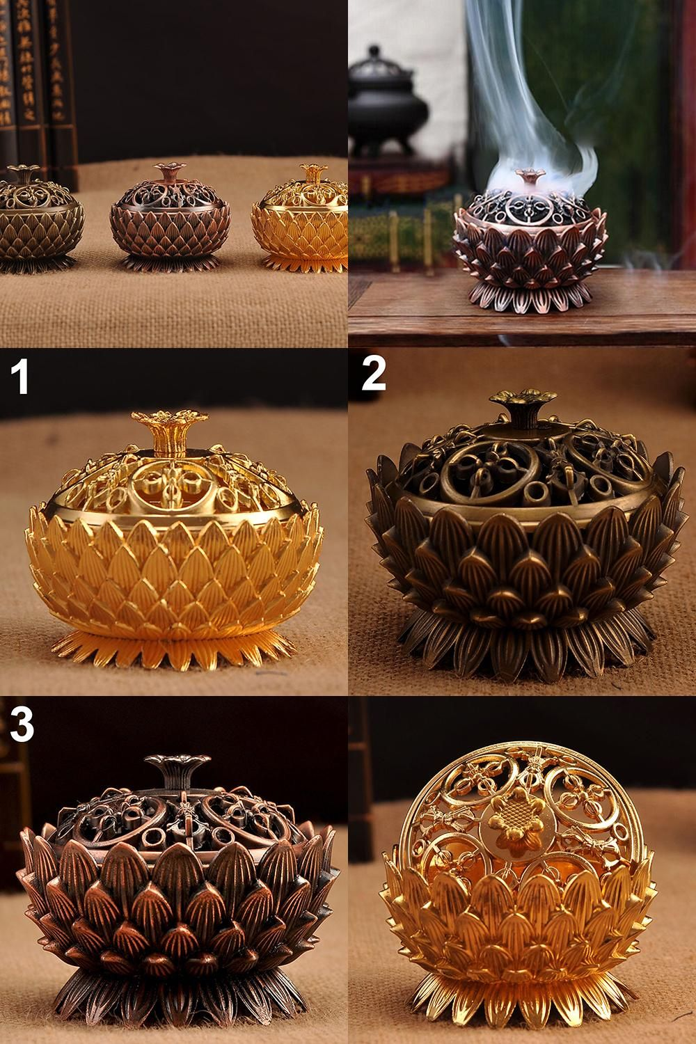 [Visit to Buy] Lotus Shape Zinc-copper Alloy Incense Burner Mini Sandalwood Censer Home Decor #Advertisement