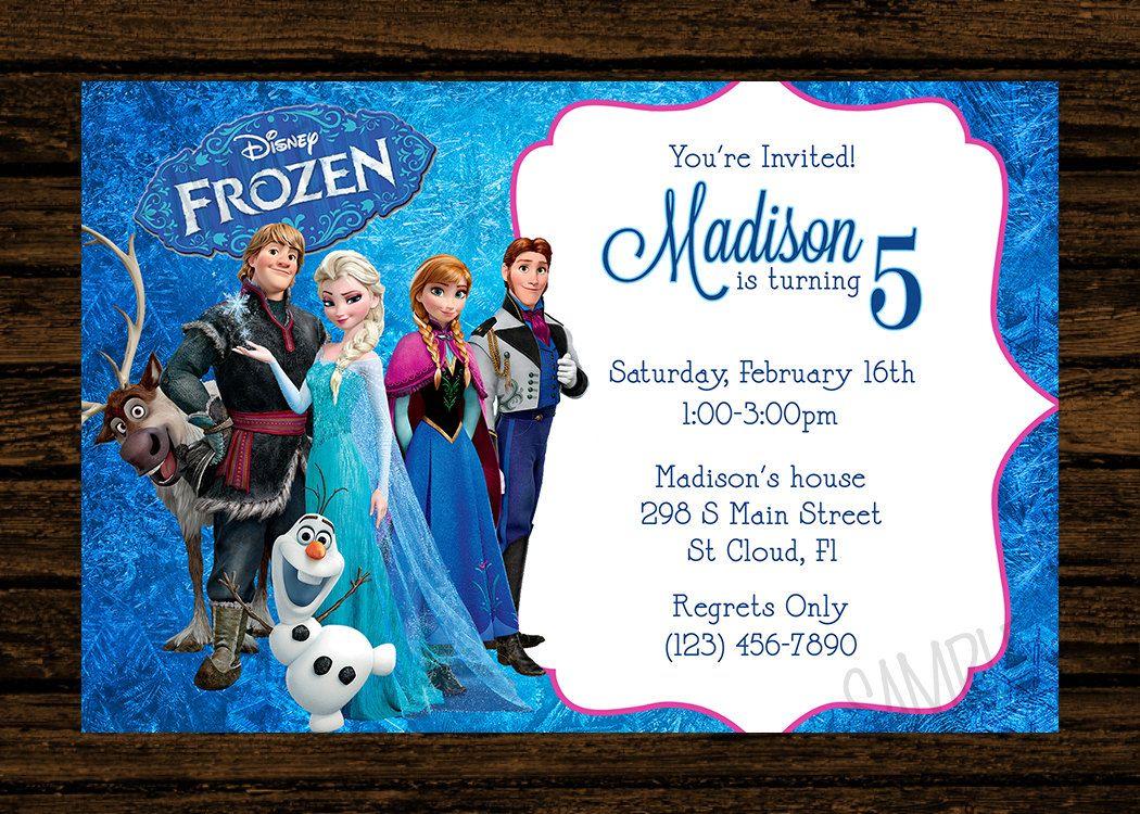 Custom Frozen Birthday Party Invitations - DIY Printable File ...