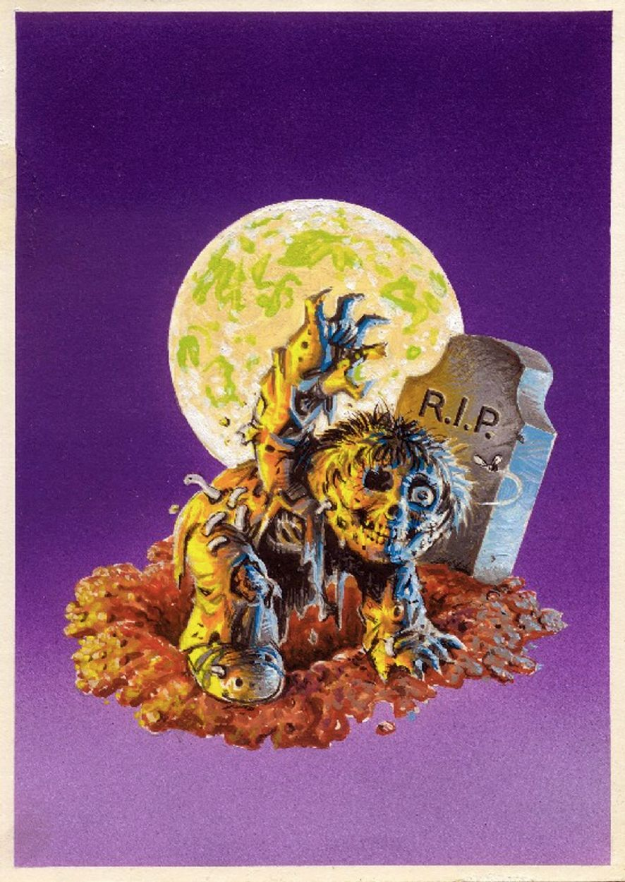 Topps Garbage Pail Kids Original Series 1 Final Art Painting No 5 Dead Ted Jay Decay By John Pound Comic Art Garbage Pail Kids Kids Artwork Art