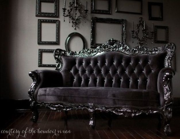 Vintage Black Couch Baroque Moderne Deco Gothic Interior Home Decor