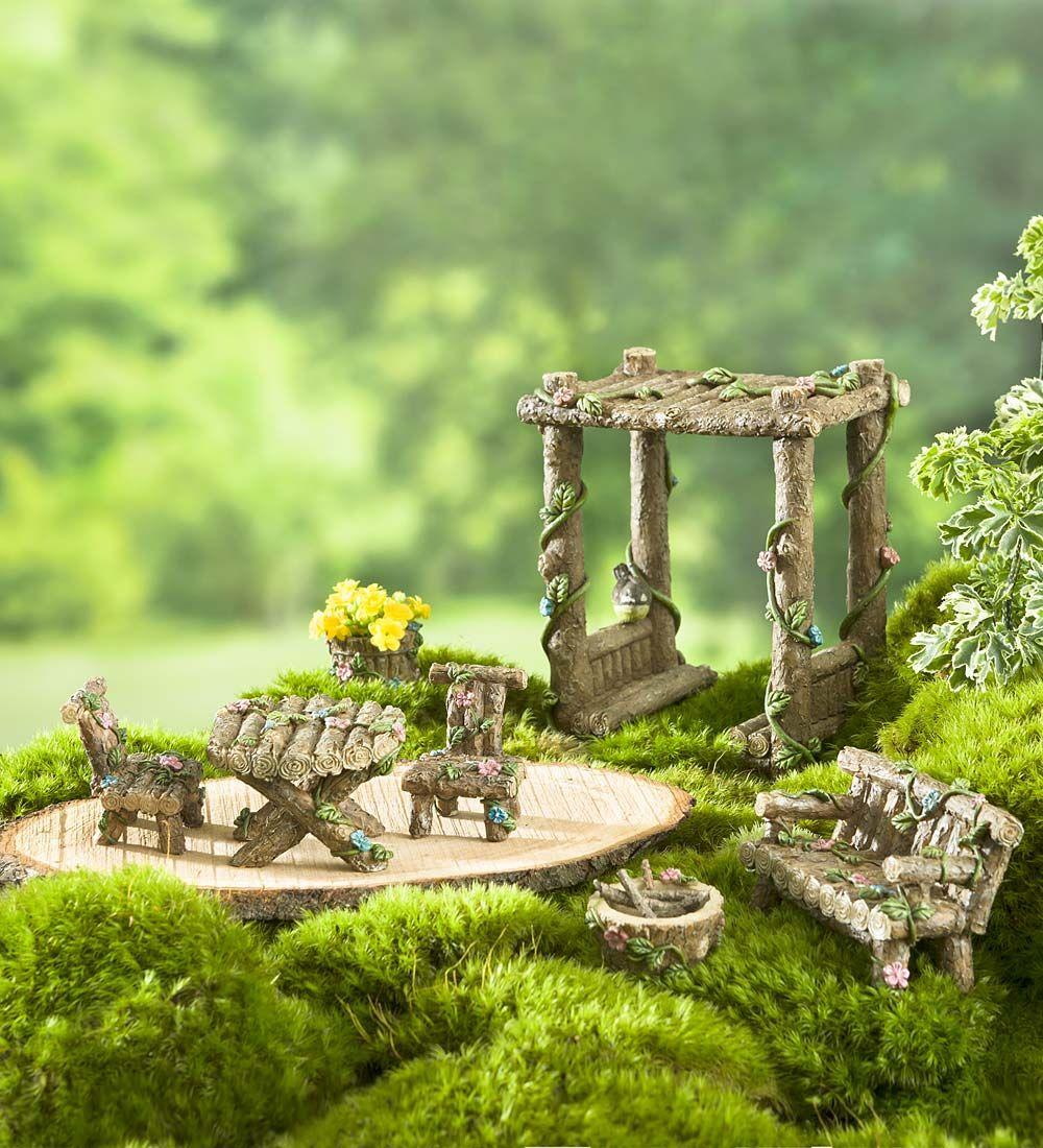 miniature fairy garden furniture, 7-piece set | miniature fairy