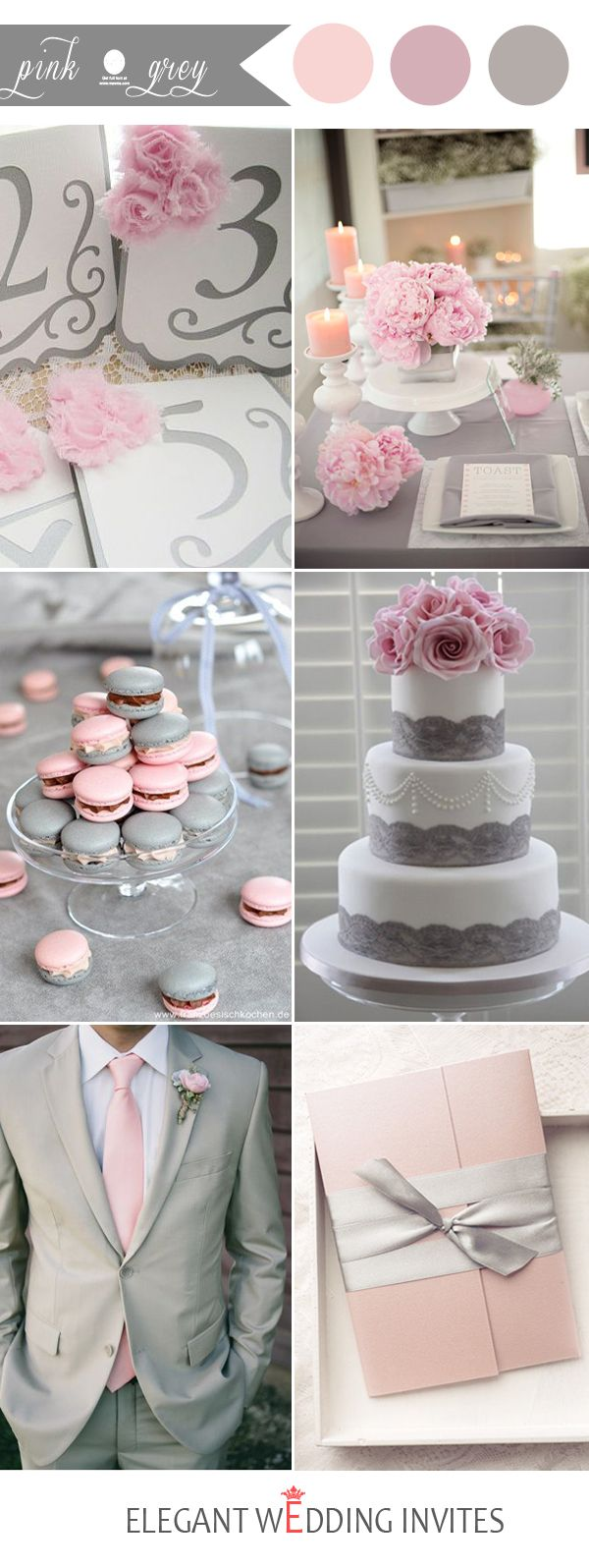 48 Perfect Pink Wedding Color Combination Ideas | Gray wedding ...