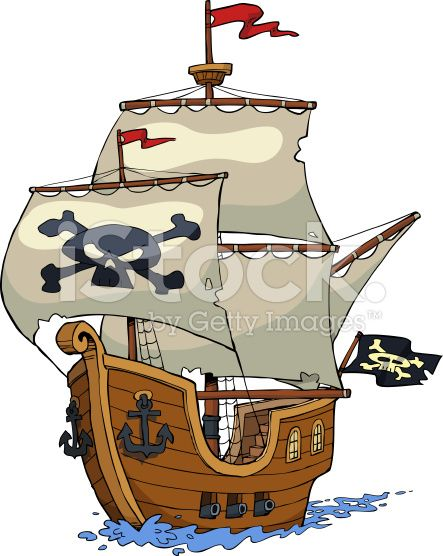 Pirate Ship On White Background Vector Illustration Cartoon