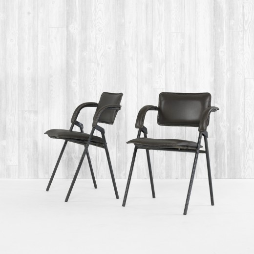 Jacques Adnet pair of folding chairs from the S.S. France