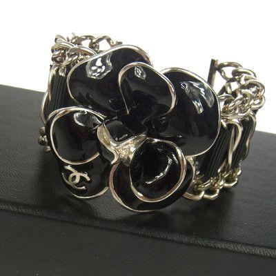 Chanel Vintage CC Logos Silver Flower Bracelet