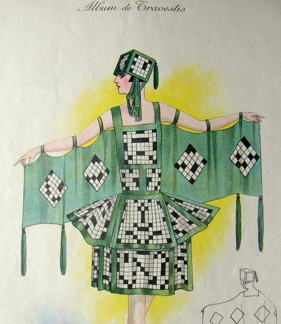 1920s Parisian Masquerade Costume Print Les Mots Croises