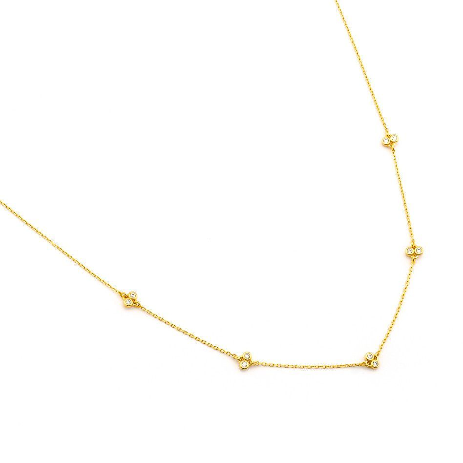 Simple Chain Necklace with Stationed CZ's