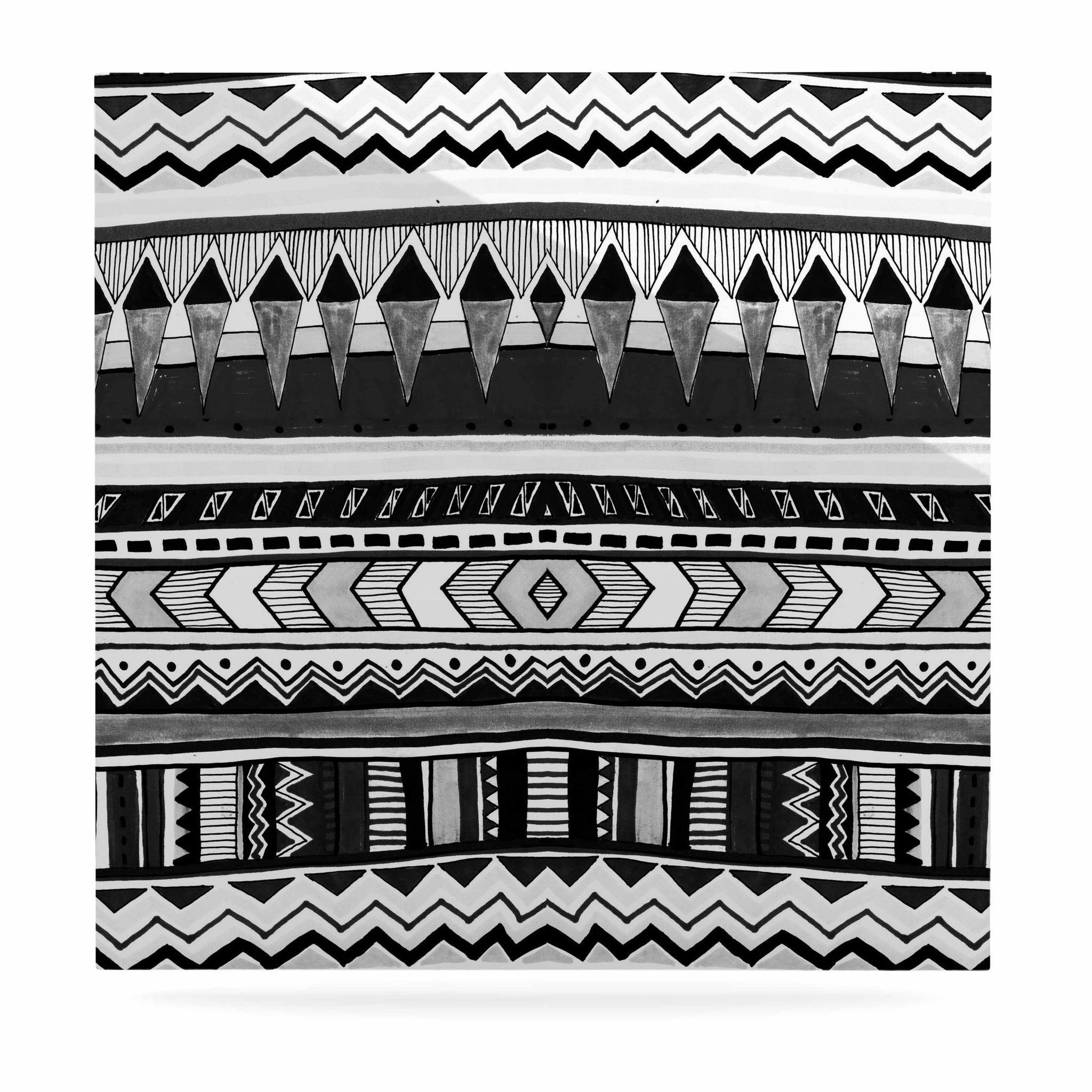 """Vasare Nar """"Tribal Black And White"""" Geometric Gray Luxe Square Panel"""