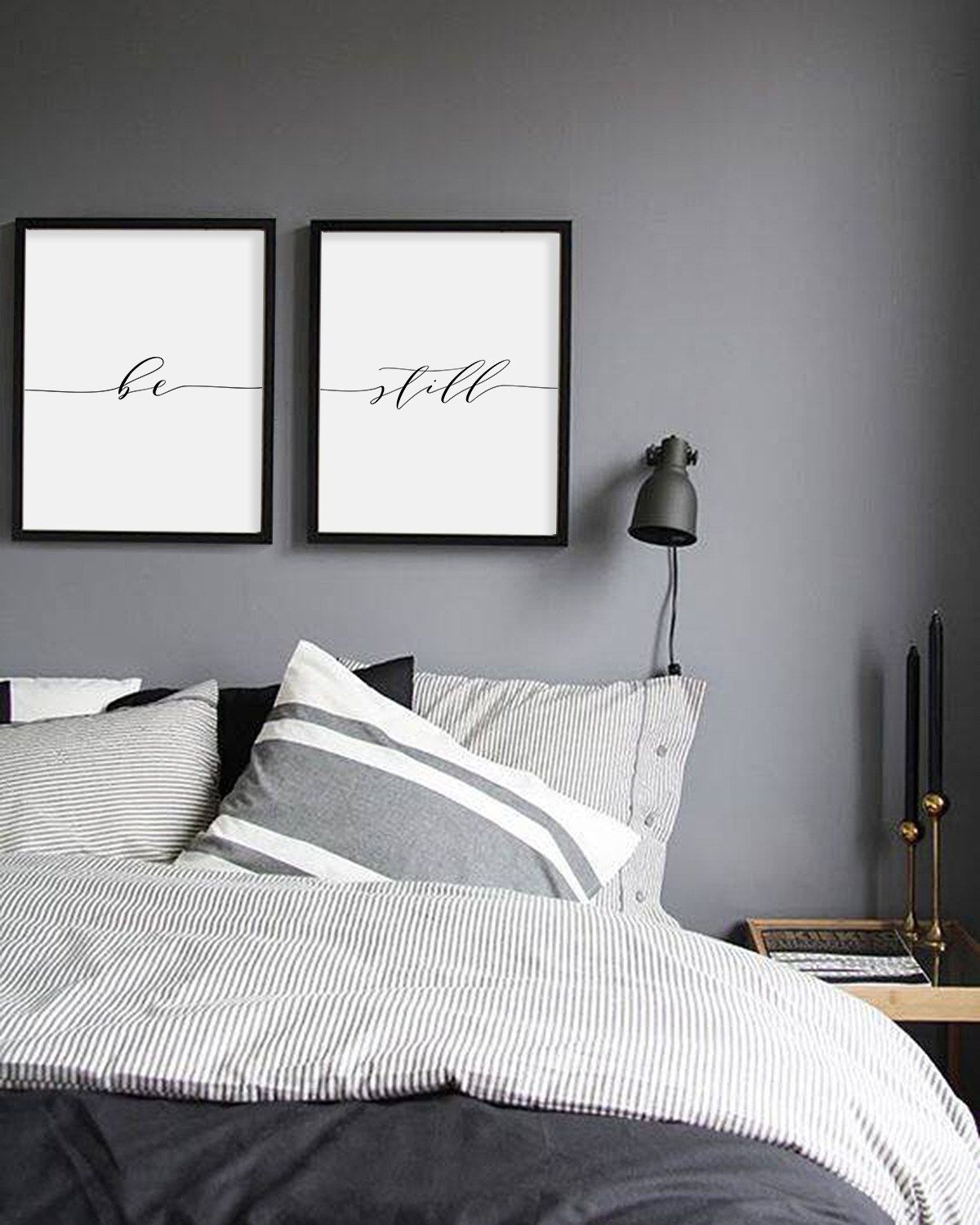Grey Wall Bedroom Dark Bedrooms Prints Black White And