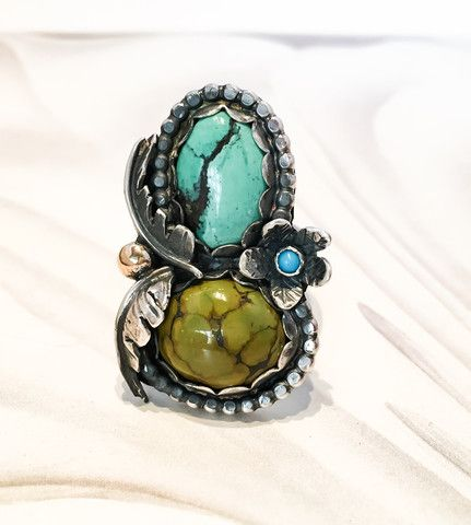 Triple Turquoise Ring in Sterling Silver with 14k gold accent // Gaia // Size 8.25