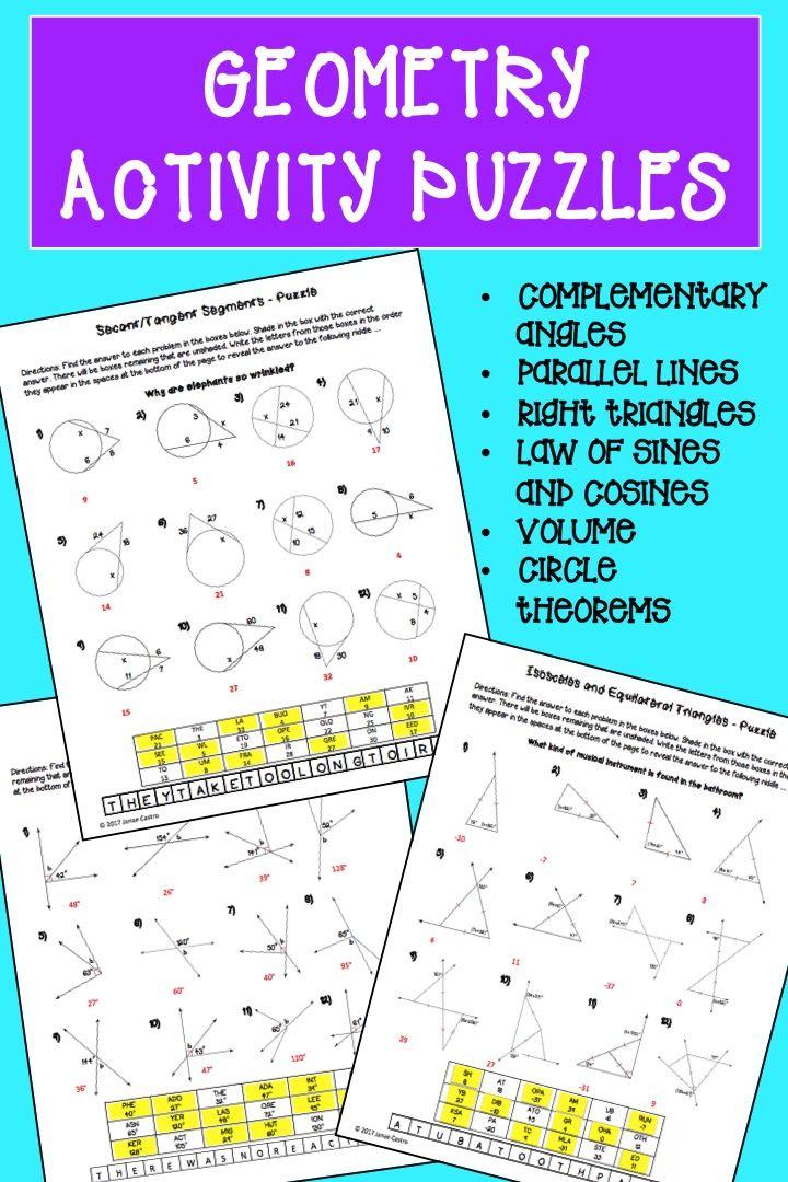 Geometry Puzzle Worksheets Bundle | High school geometry, Geometry ...