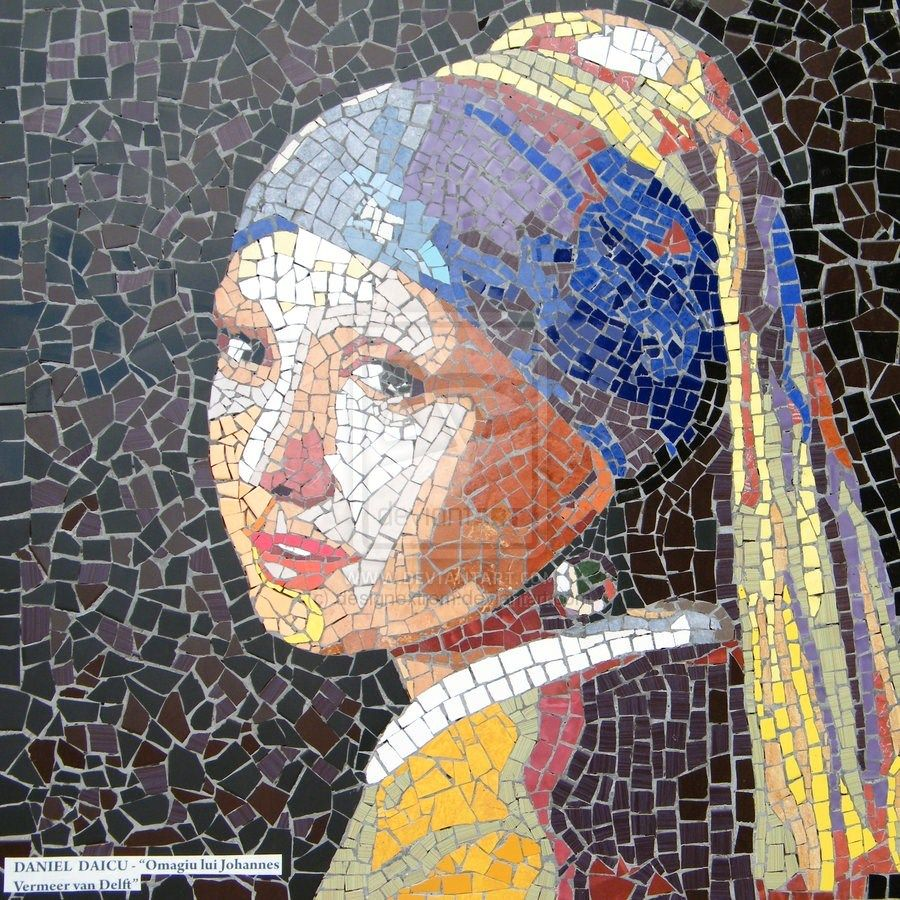 girl with pearl earring mosaic | Brincos de prolas ...
